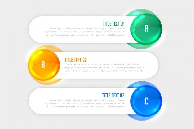 Trzy kroki biały infographic sztandary Darmowych Wektorów