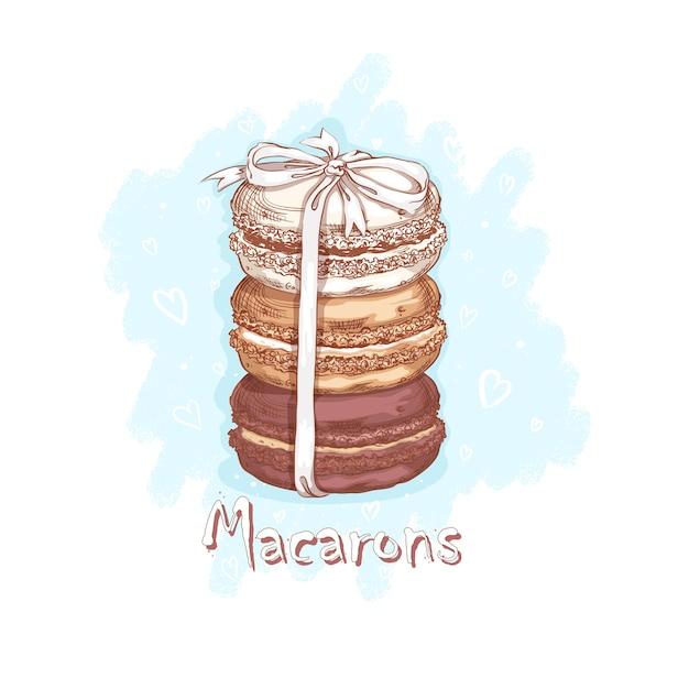 Trzy Makaroniki Przewiązane Białą Wstążką. Słodycze I Desery. Szkicowy Rysunek Odręczny Premium Wektorów