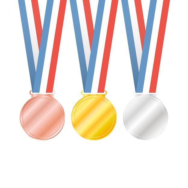 Trzy Medale Na Białym Tle Premium Wektorów