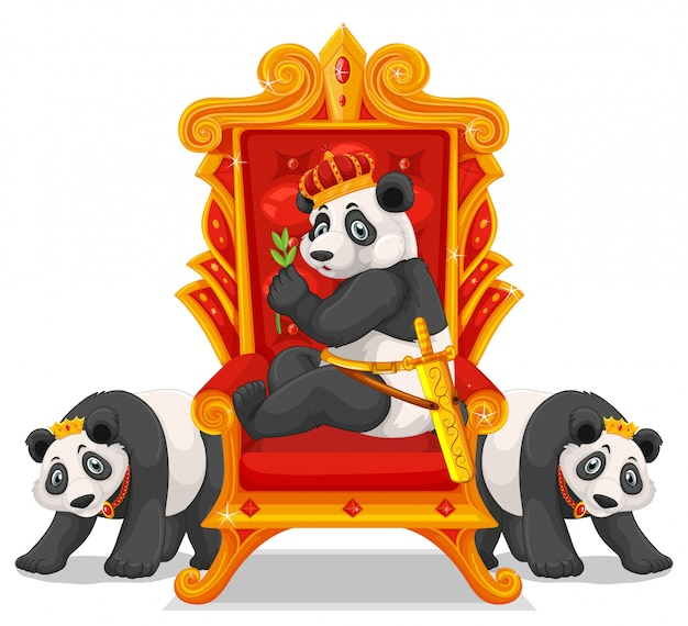 Trzy pandy na tronie Darmowych Wektorów