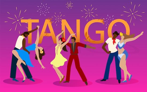 Trzy Pary Tancerzy W Kostiumach Tańczących Tango. Premium Wektorów