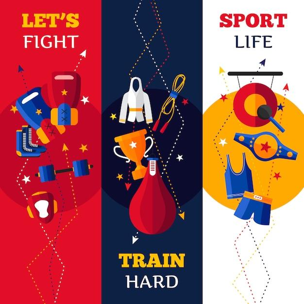 Trzy płaskiego pionowo sztandaru ustawiającego abecadło odizolowywająca ilustracja boksuje atrybutu wektorową ilustrację Darmowych Wektorów