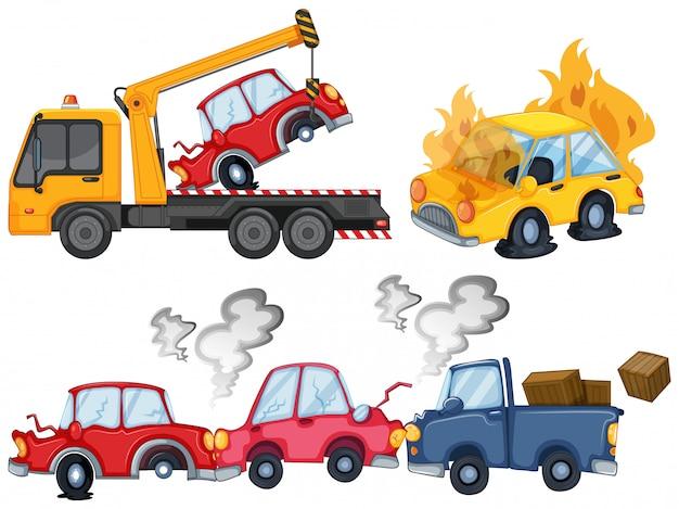 Trzy Pojedyncze Sceny Wypadku Samochodowego Darmowych Wektorów