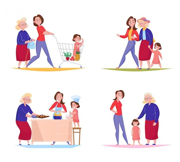 Trzy Pokolenia Rodzinnych Kobiet 4 Projektów Płaski Kwadrat Z Babci Matki Dzieciakiem Robi Zakupy Chodzącą Plenerową Ilustrację Darmowych Wektorów