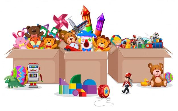 Trzy Pudełka Pełno Zabawki Na Bielu Premium Wektorów