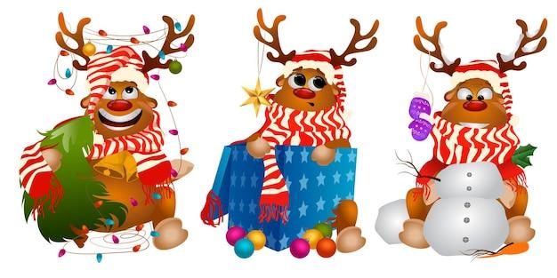 Trzy świąteczne Jelenie Artoon Premium Wektorów