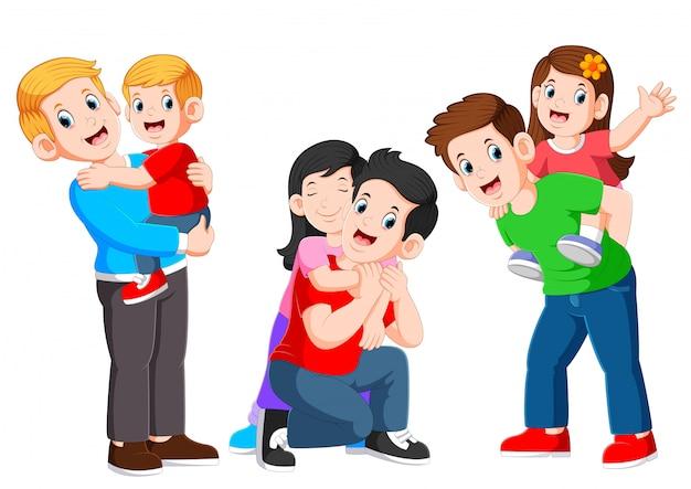 Trzy Szczęśliwy Ojciec Tulenie Swojego Dziecka I Zabawy Z Jego Dziećmi Premium Wektorów
