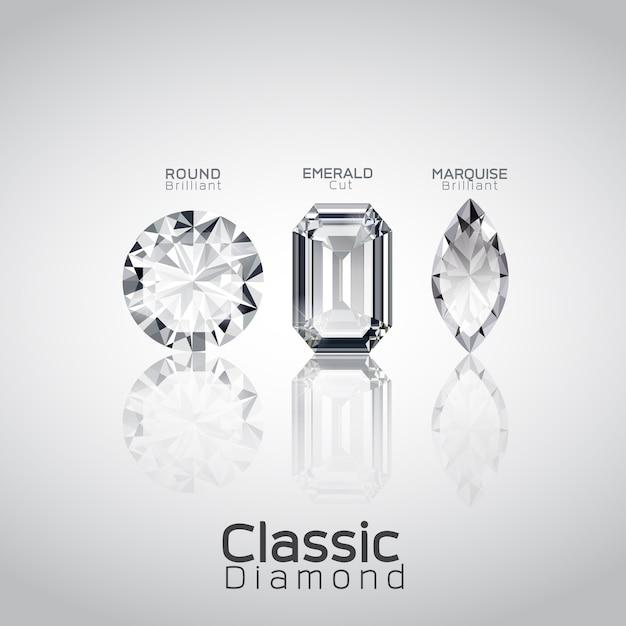 Trzy wektor cięcia diamentów Premium Wektorów