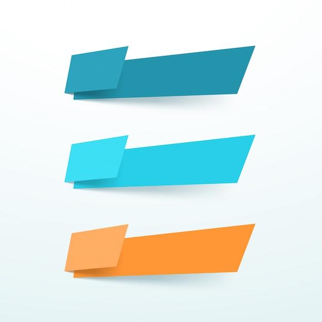 Trzy wektor pole tekstowe streszczenie wyciąć elementy kształt zestaw Premium Wektorów