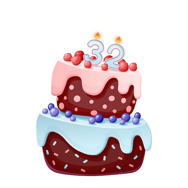 Trzydziestodwuletni Tort Ze świeczkami Nr 32. Premium Wektorów