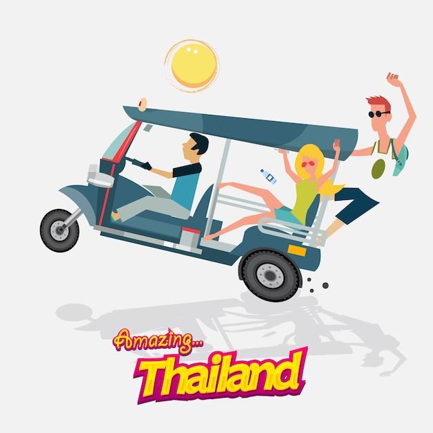 Trzykołowy Samochód Z Turystyką. Tuk Tuk. Bangkok, Tajlandia. Premium Wektorów