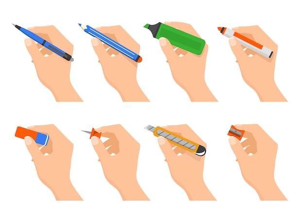 Trzymaj Ręce Odizolowane Materiały. Artykuły Biurowe Premium Wektorów