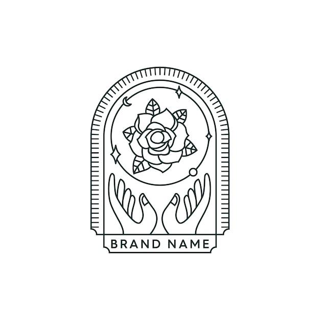 Trzymając Logo Kwiat Premium Wektorów