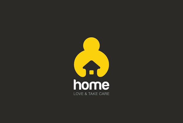 Trzymając Się Za Ręce Ikona Logo Domu. Negatywny Styl Przestrzeni. Darmowych Wektorów