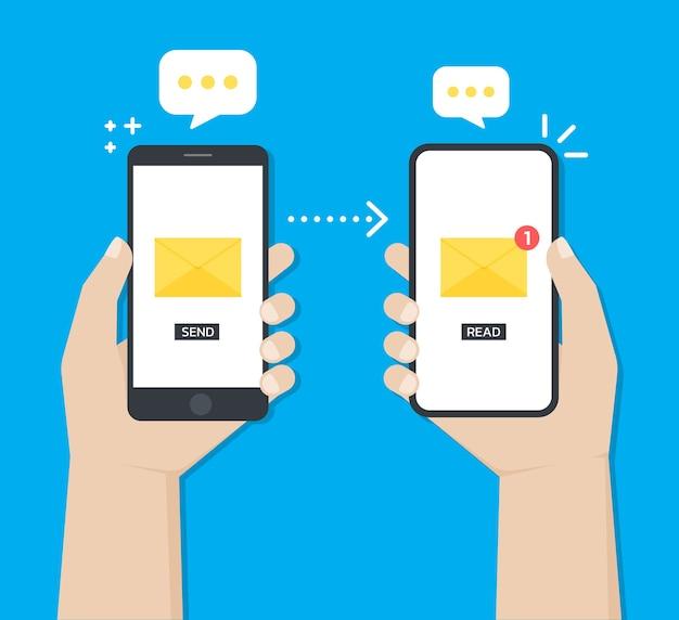 Trzymając Się Za Ręce Smartfon Podczas Wysyłania Wiadomości Lub E-maili Z Jednego Urządzenia Do Drugiego Premium Wektorów