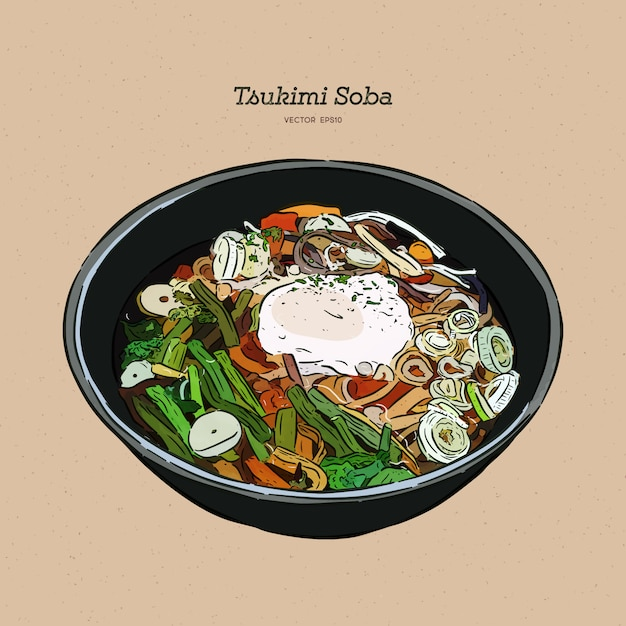 Tsukimi soba to jeden z japońskich makaronów z surowym jajkiem. Premium Wektorów