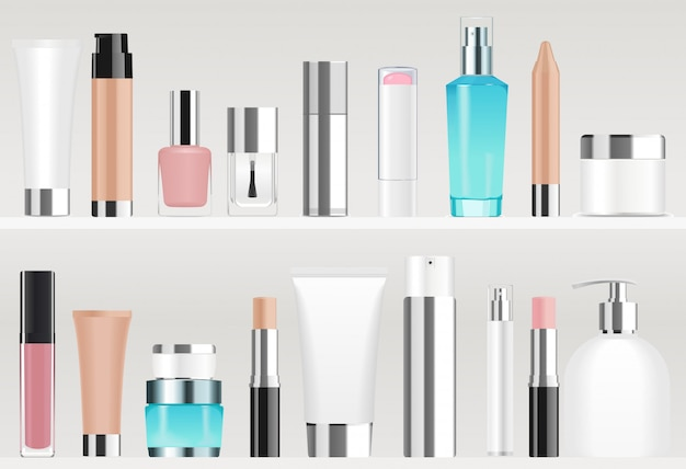 Tuby Kosmetyczne Na Półkach. Różne Kolory Premium Wektorów