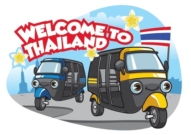 Tuk Tuk Samochód Thailand Premium Wektorów
