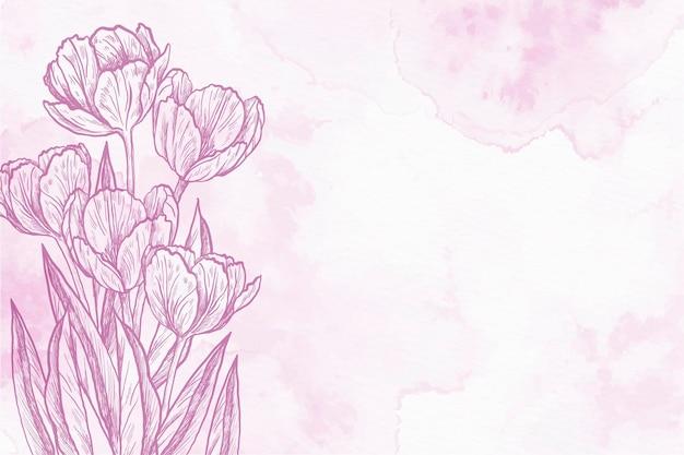 Tulipany W Proszku Pastelowe Ręcznie Rysowane Tła Darmowych Wektorów