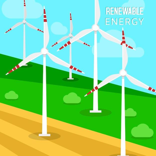 Turbiny wiatrowe i wiatraki. krajobraz zieleni i turbin, które przekształcają energię kinetyczną Premium Wektorów