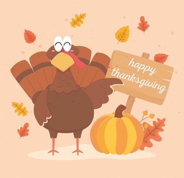 Turcja z dyni i wyżywienie szczęśliwe święto dziękczynienia Premium Wektorów