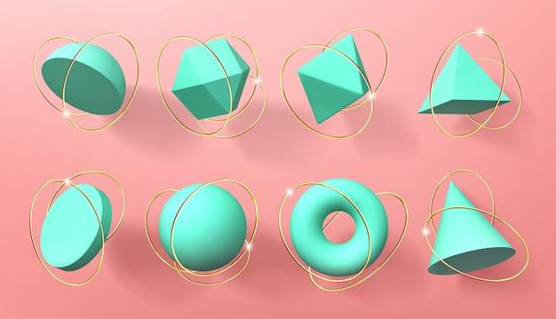 Turkusowe Geometryczne Kształty 3d Ze Złotymi Pierścieniami Darmowych Wektorów