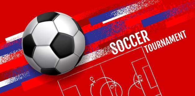 Turniej piłki nożnej, układ sportowy szablonu Premium Wektorów