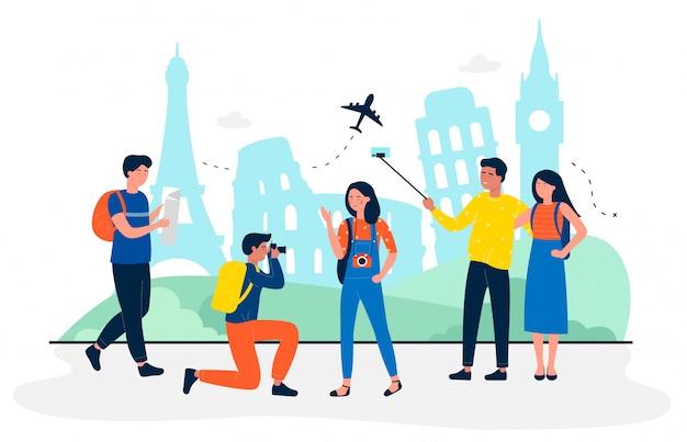 Turyści Są Na Ilustracji Koncepcji Podróży Płaskiej Zwiedzania. Ludzie Robią Zdjęcia I Selfie Na Pamiątkę. Biura Podróży, Branża Rekreacyjna, Linie Lotnicze, Wycieczki Indywidualne I Grupowe Premium Wektorów