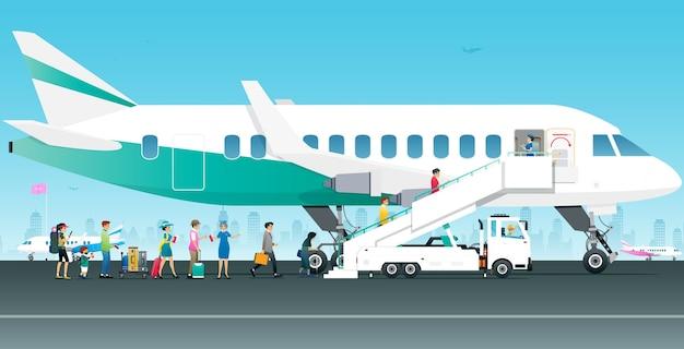 Turyści Spacerują Samolotem Pod Nadzorem Stewardów Premium Wektorów