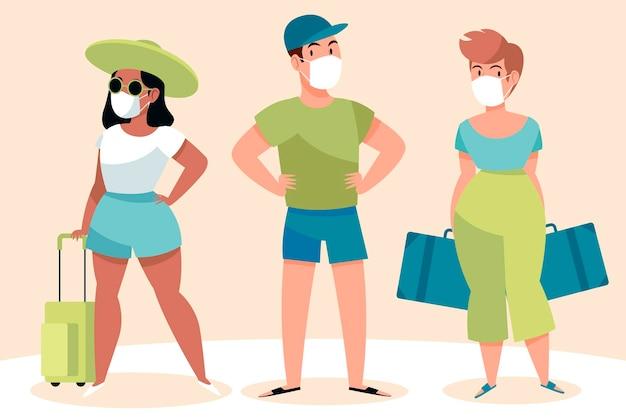Turyści W Maskach Na Twarz Darmowych Wektorów