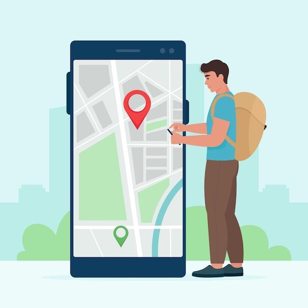 Turysta-mężczyzna Z Telefonem W Rękach Używa Map Elektronicznych, Aby Znaleźć Lokalizację. Ilustracja Wektorowa W Stylu Płaski Premium Wektorów