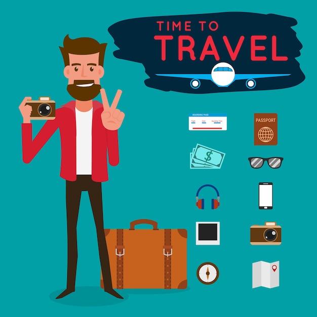 Turysta Z Gadżetem Na Podróż Premium Wektorów