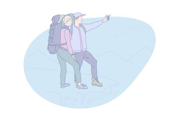 Turystyka, Góry, Online, Turystyka, Podróże, Ilustracja Premium Wektorów