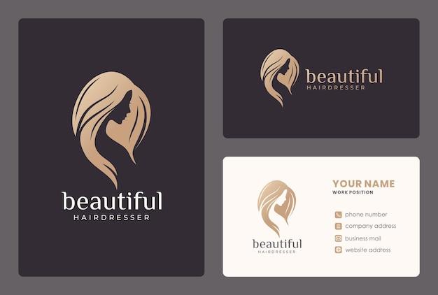 Twarz Eleganckiej Kobiety, Salon Kosmetyczny, Projektowanie Logo Fryzjera Z Szablonu Wizytówki. Premium Wektorów