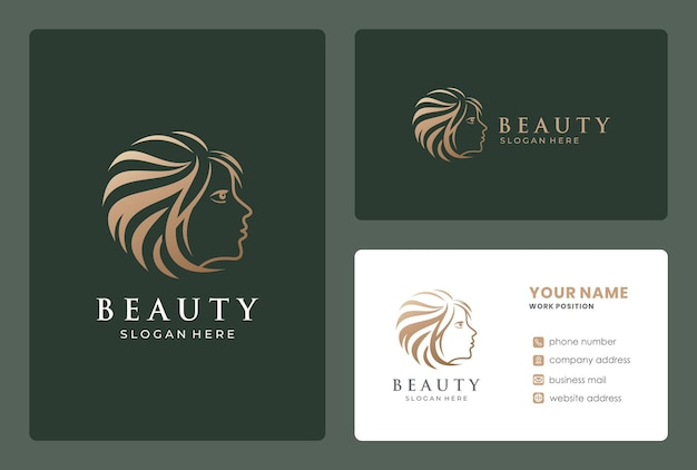Twarz Kobiety, Salon Piękności, Projektowanie Logo Fryzjera Z Szablonu Wizytówki. Premium Wektorów