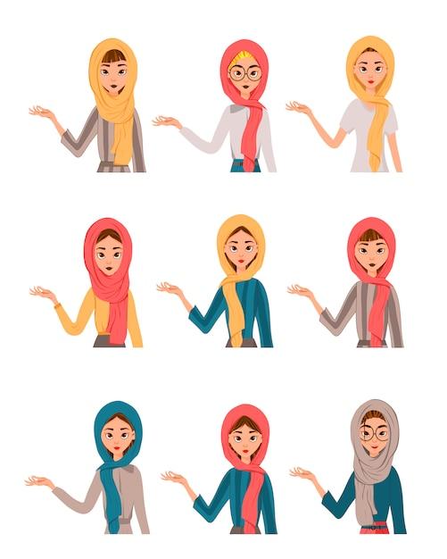 Twarz Kobiety Znaków Z Burka Premium Wektorów