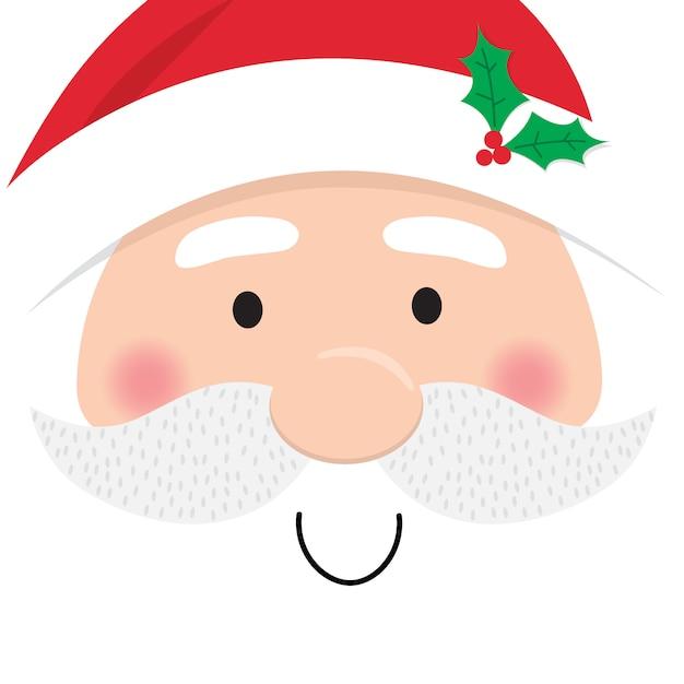 Twarz świętego mikołaja, ładny świąteczny charakter postaci Premium Wektorów