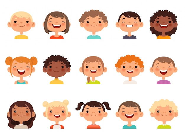 Twarze Dzieci. Wyrażenie Dziecka Stoi W Obliczu Kolekcji Awatarów Kreskówek Małych Chłopców I Dziewcząt Premium Wektorów