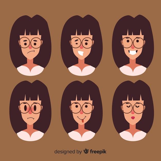 Twarze kobiety z różnymi emocjami Darmowych Wektorów
