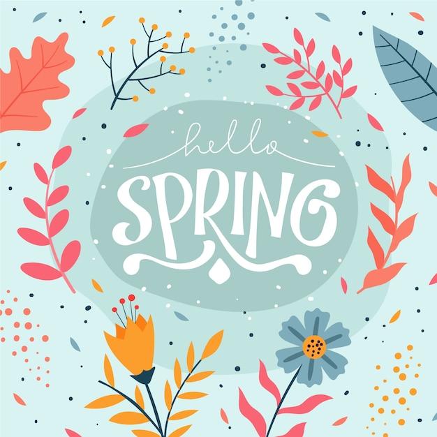 Twórcze Powitanie Wiosna Napis Darmowych Wektorów