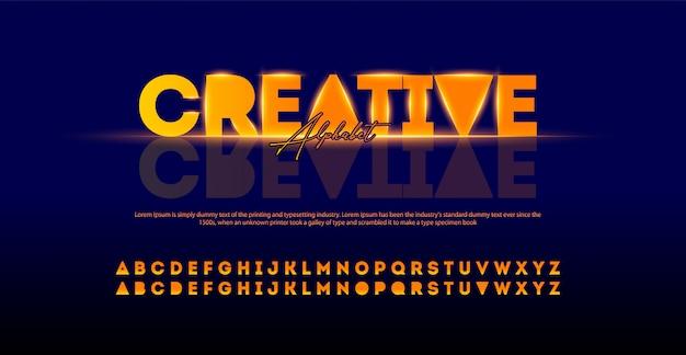 Twórczy Nowoczesny Alfabet Czcionki. Typografia Czcionki Miejskie Ze światłami Premium Wektorów