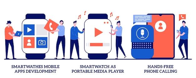 Tworzenie Aplikacji Mobilnych Na Smartwatche, Smartwatch Jako Przenośny Odtwarzacz Multimedialny, Koncepcja Rozmów W Trybie Głośnomówiącym Z Małymi Ludźmi. Zestaw Abstrakcyjnych Ilustracji Urządzeń Do Noszenia. Połączenia Głosowe. Premium Wektorów