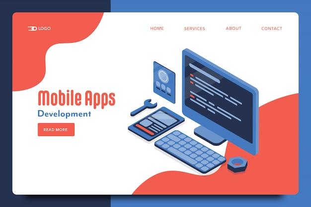 Tworzenie Aplikacji Mobilnych Premium Wektorów