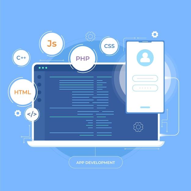 Tworzenie Aplikacji Na Telefony Komórkowe I Komputery Stacjonarne Darmowych Wektorów