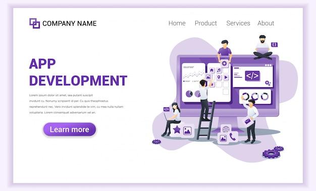 Tworzenie Aplikacji, Strona Docelowa Dla Programistów. Premium Wektorów