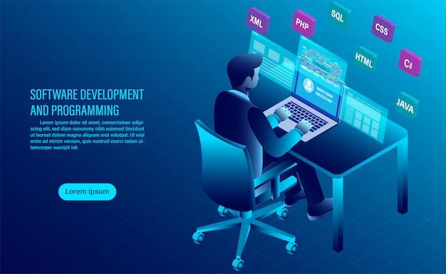 Tworzenie i kodowanie oprogramowania. programowanie koncepcji. przetwarzanie danych. kod komputerowy z interfejsem okiennym. Premium Wektorów