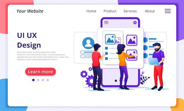 Tworzenie Koncepcji Aplikacji, Miejsca Tekstowego Dla Ludzi I Treści, Projektu Ui Ux. Szablon Strony Docelowej Witryny Premium Wektorów