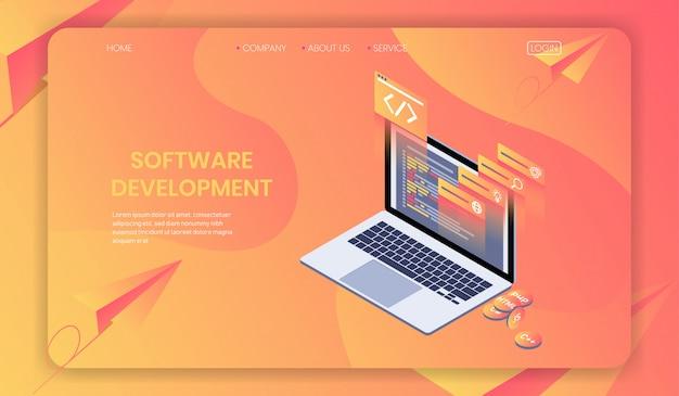 Tworzenie Oprogramowania I Tworzenie Stron Internetowych Koncepcja Izometryczna Premium Wektorów