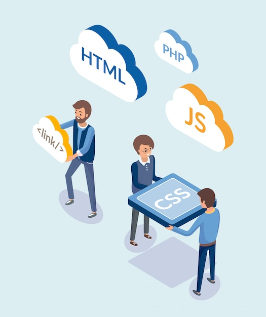 Tworzenie stron internetowych, ludzie z językami kodowania Premium Wektorów