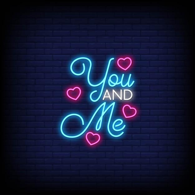 Ty i ja na plakat w stylu neonowym. Premium Wektorów